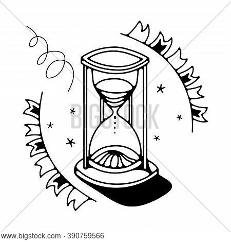 Doodle Vector Illustration With Sandglass. Isolated On White Background.
