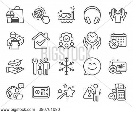 Business Icons Set. Included Icon As Safe Box, Headphones, Cogwheel Settings Signs. Lightweight, Bil