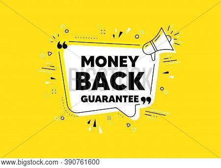 Money Back Guarantee. Megaphone Yellow Vector Banner. Promo Offer Sign. Advertising Promotion Symbol
