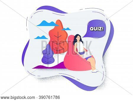 Quiz Symbol. Remote Online Work Icon. Woman Working At Laptop. Answer Question Sign. Examination Tes
