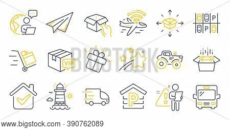 Set Of Transportation Icons, Such As Packing Boxes, Lighthouse, Parcel Delivery Symbols. Parking, Pa