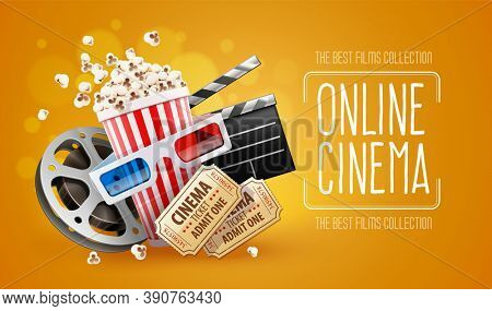 Online cinema art movie watching with popcorn, 3d glasses and film-strip cinematography concept. realistic. 3D illustration.