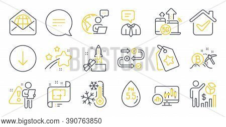 Set Of Technology Icons, Such As Ph Neutral, Innovation, Web Mail Symbols. Text Message, Architectur