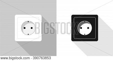 Power Socket. White And Black Power Socket, Vector Icons. Power Socket, Isolated. Vector Illustratio