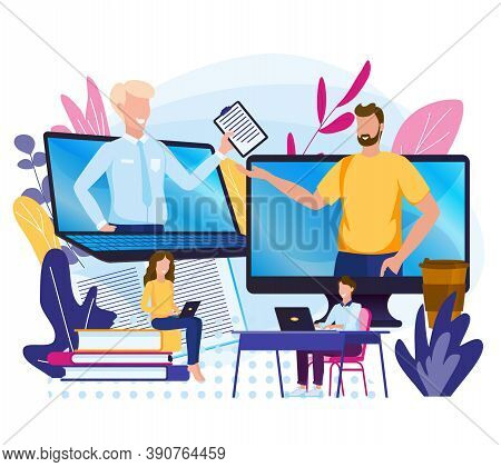 Online Work. Submission Of Reports On The Internet.transfer Files Remotely. E-learning, Learning Pod