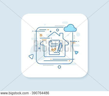 Approved Agreement Line Icon. Abstract Vector Button. Sign Document. Accepted Or Confirmed Symbol. A