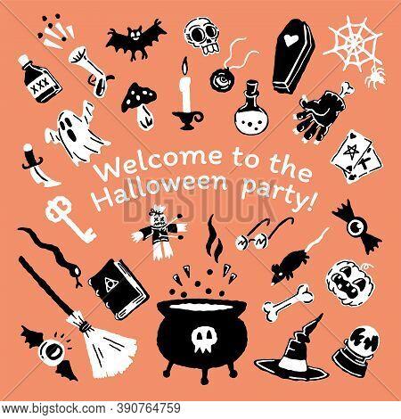 Halloween Cartoon Set Of Handdrawing Magic Elements. Magic Hat, Bat, Skull, Candle, Pumpkin, Magic B