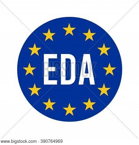 Eda, European Defence Agency Sign With A White Background
