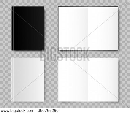 Notebook. Notebook Realistic Mockup Black And White Colors. Template Notebooks, Isolated. Vector Ill