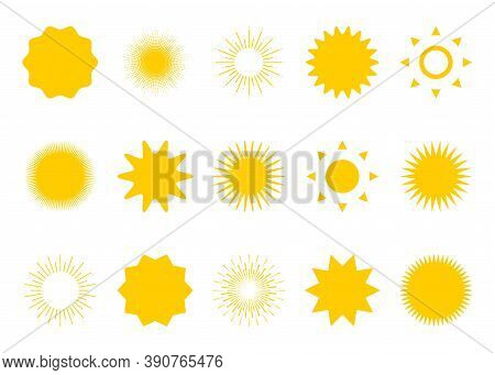 Sun. Sun Rays Collection Vector Icons. Sun Icons Collection, Isolated. Rays In Flat Design. Vector I