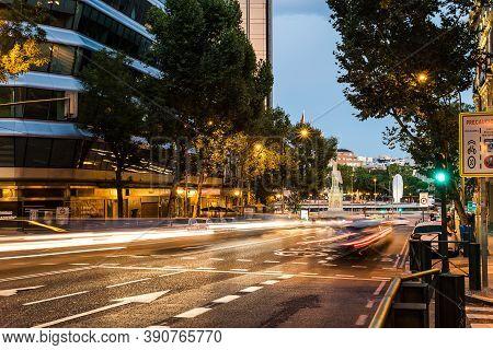 Madrid, Spain - 26 September 2020: Long Exposure Of Genova Street With Traffic Light Trails