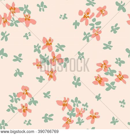 Ditsy Darling Blooms Seamless Vector Pattern.painted Ditsy Floral Scattered Around In Coral And Mint