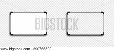 Whiteboard. White Board With Transparent Board. Empty Frame Board, Isolated On Transparent Backgroun