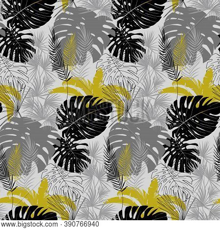 Seamless Pattern With Tropical Plants In Monochrome Shades Of Black Gray And Gold With Leaves Of Mon