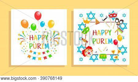 Happy Purim Carnival Cards, Invitation, Flyer. Festival Jewish Holiday Background. Vector Illustrati