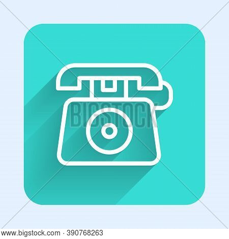 White Line Telephone With Emergency Call 911 Icon Isolated With Long Shadow. Police, Ambulance, Fire