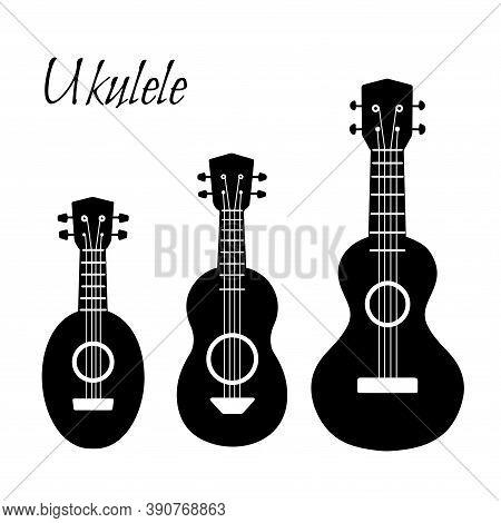 Set Of Black Simple Silhouette Ukulele. Hawaiian Music. Musical String Instrument. Vector Element Fo