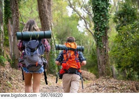 Back View Of Backpackers Walking On Mountainous Trail. Caucasian Hikers Or Traveler Carrying Backpac