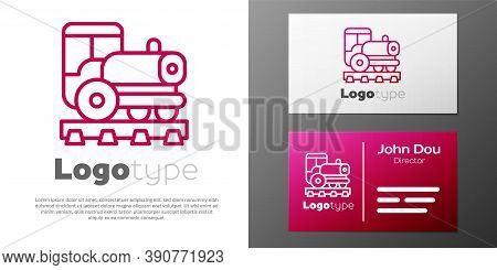 Logotype Line Vintage Locomotive Icon Isolated On White Background. Steam Locomotive. Logo Design Te
