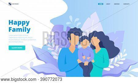 Parenthood, Happy Family Concept. Flat Vector Illustration For Website, Landing Page, Banner, Hero I