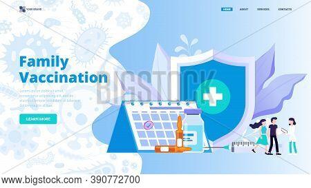 Family Immunization Concept Flat Vector Illustration For Website, Landing Page, Banner, Hero Image.