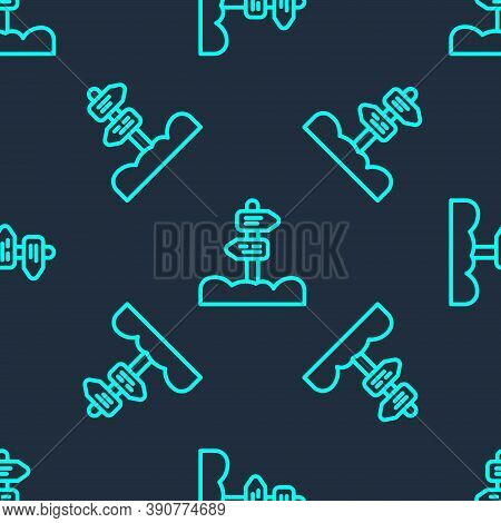 Green Line Road Traffic Sign. Signpost Icon Isolated Seamless Pattern On Blue Background. Pointer Sy