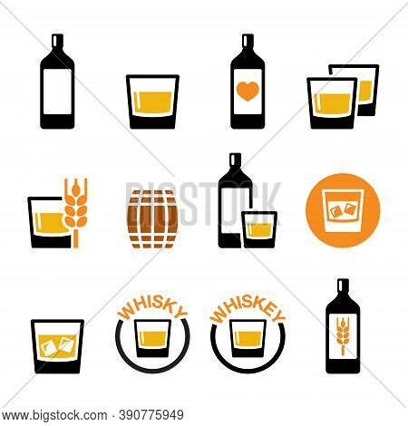 Whisky Or Whiskey Vector Icon Set - Alcohol Drink, Pub And Bar Design