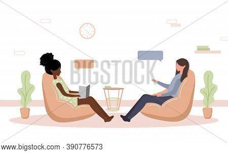 Psychotherapy Practice And Psychological Help. African Woman Supports Female With Psychological Prob