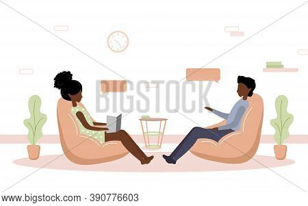 Psychotherapy Practice And Psychological Help. African Woman Supports Boy With Psychological Problem