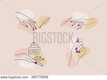 Female Manicured Hands. Lady Painting, Polishing Nails. Nail Polish And Nail File. Vector Illustrati