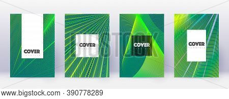 Hipster Brochure Design Template Set. Green Abstract Lines On Dark Background. Amazing Brochure Desi