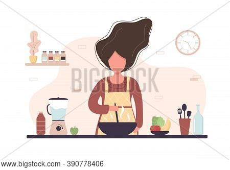 Woman Cooking In Kitchen. Girl Preparing Homemade Meals For Lunch Or Dinner. Preparation Homemade Pa