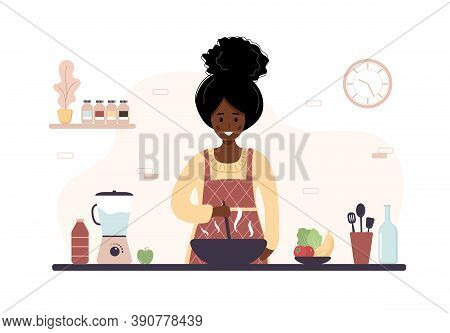 African Woman Cooking In Kitchen. Girl Preparing Homemade Meals For Lunch Or Dinner. Preparation Hom