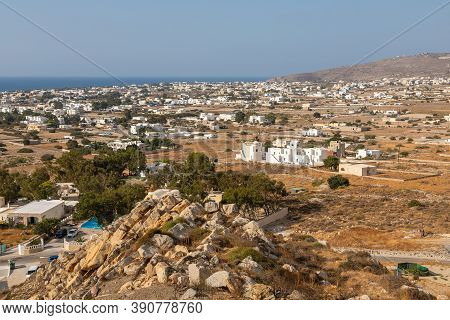 Greece, The Island Of Santorini. The View From The Archeological Site Of Ancient Thiras To The Resor
