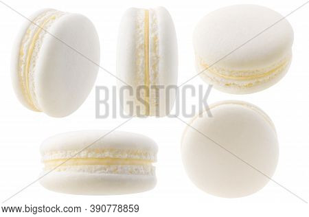 Isolated White Macarons Collection. Vanilla Or Coconut Macaroon At Different Angles Isolated On Whit
