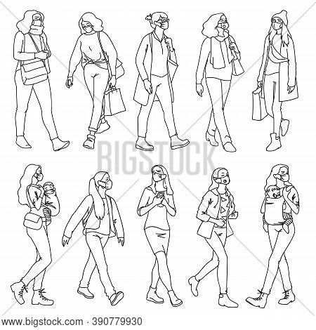 People In Medical Masks. Vector Illustration Of Masked Women Set In Linear Style Isolated On White B