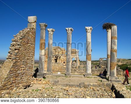 Volubilis, Morocco - 03 Nov 2010: Ancient Roman Ruins In Volubilis, Morocco, Nord Africa