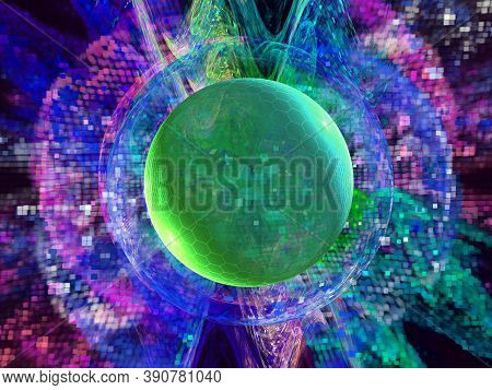 Digital Technology. Abstract Technology Background, Futuristic Background With Network Connection Li
