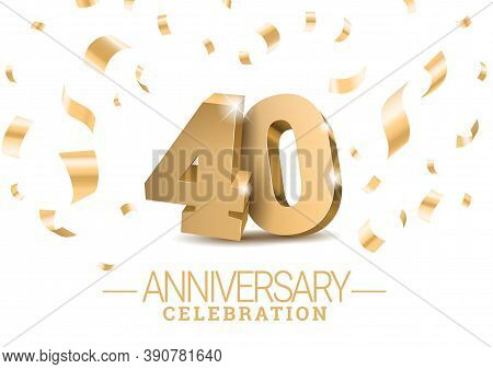 Anniversary 40. Gold 3d Dancing Numbers. Poster Template For Celebrating 40th Anniversary Event Part