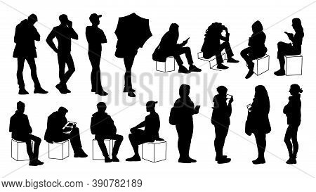 Set Of Young And Adult Men And Women Standing And Sitting. Monochrome Vector Illustration Of Silhoue
