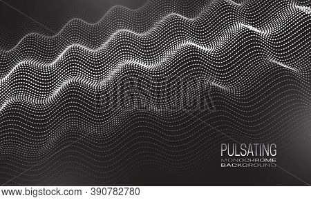 Pulsating Monochrome Background Design With Ripple Of Dots And Lines. Abstract Vibrating Background