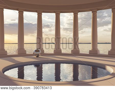 Swimming pool in hall with columns and sea views, conceptual art, 3D illustration, rendering.