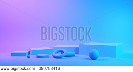 Stand for product in neon lighting, 3D illustration, rendering.