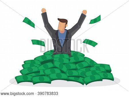 Happy Rich Man With Big Heap Of Stacked Money. Billionaire Business Man Or Smiling On A Huge Cash Pi