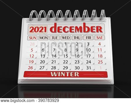 3d Illustration. Calendar -  December 2021 (clipping Path Included)