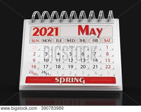 3d Illustration. Calendar -  May 2021  (clipping Path Included)