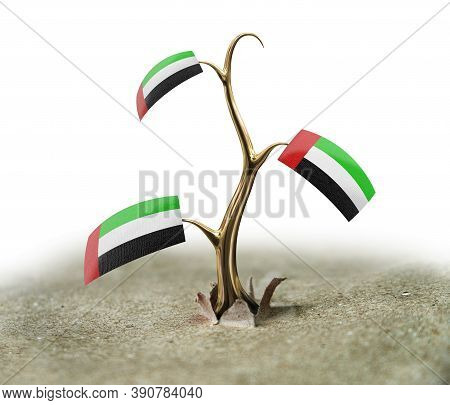 3d Illustration. 3d Sprout With United Arab Emirates Flag On White