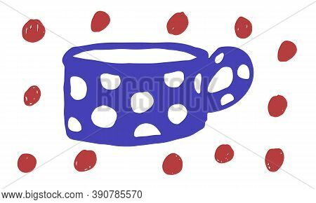 Doodle Cup Illustration. Simple Hand Drawn Vector Drawing. Teacup With Polka Dots Pattern. Kitchen C