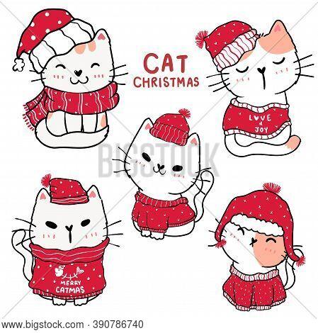 Cute Cartoon Kitten Cat Set Happy Christmas, Flat Vector Clip Art, Idea For Greeting Card, Printable