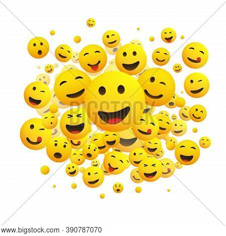 Various Faces, Emoticons - Lots Of Laughing, Smiling, Winking Emoticons, 3d Vector Concept Illustrat